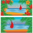 Two summer banners, vector illustration — Stock Vector