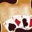 Casino background with poker cards, vector illustration — Vector de stock