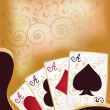 Poker cards banner, vector illustration — Stok Vektör