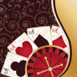 Casino banner with poker cards and roulette, vector — Stock Vector