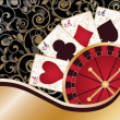 Casino card with poker elements and roulette, vector — Stock Vector