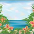 Summer time background, vector illustration — Stock Vector