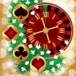Casino Christmas greeting card, vector illustration — Stock Vector