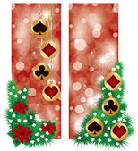 Two Casino Christmas banners, vector illustration — Stock Vector
