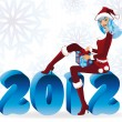 Santa girl and new 2012 year, vector illustration — Stock Vector