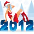 New 2012 year with sexy santa girl, vector illustration — Stock Vector