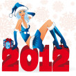 Santa girl with giftbox and new 2012 year, vector — Stock Vector