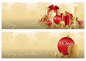 Golden red Christmas banners. vector — Stok Vektör
