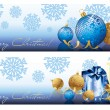 Golden blue Christmas banners, vector illustration — Stock Vector