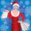 Santa girl shopping, vector illustration — Stock Vector