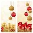 Two Christmas sale banners, vector illustration — Stock Vector
