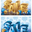 Two Christmas sale blue golden banners, vector illustration - Stock Vector