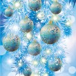 Winter card with blue christmas balls, vector illustration — Stock Vector #8165356