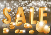 Christmas golden sale, vector illustration — Stock Vector