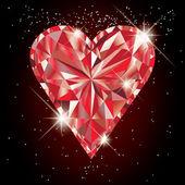 Ruby heart, vector illustration — Stock Vector