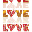 Set ruby love banners. vector illustration — Vettoriali Stock
