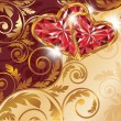Love card with two ruby hearts and golden pattern, vector — Stok Vektör
