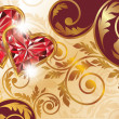 Valentines day banner with two ruby hearts, vector - Imagens vectoriais em stock