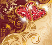 Love card with two ruby hearts and golden pattern, vector — Stock Vector
