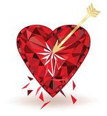 Rubino cuore trafitto con freccia, illustrazione vettoriale — Vettoriale Stock