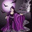 Sexy witch, vector illustration -  