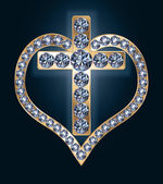 Diamond cross with heart, vector illustration — Vector de stock