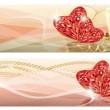 bruiloft liefde banners, vectorillustratie — Stockvector