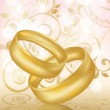 Two gold wedding rings. Vector illustration — Stock Vector #9166322