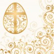 Stock Vector: Easter egg card, vector illustration