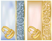Two gold wedding rings. Vector illustration — Vecteur