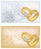 Dos banderas de la boda, ilustración vectorial — Vector de stock