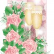 Stock Vector: Greeting card with champagne and roses