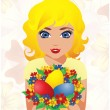 Beautiful Girl with Easter Eggs , vector illustration — Stock Vector