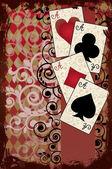 Poker Vintage Poster , vector illustration — Stock Vector