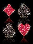 Precioso poker elemets, ilustración vectorial — Vector de stock