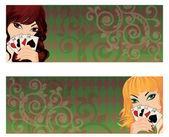 Two banner with poker girls, vector illustration — Stock Vector