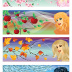 Seasons banners, vector illustration — Stock Vector