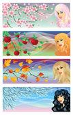 Mevsim afiş, vektör çizim — Stok Vektör