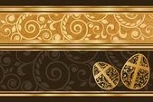 Hermoso estandarte dorado de la pascua, ilustración vectorial — Vector de stock