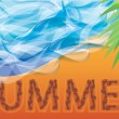 Summer from human footprint on sand, vector - Stock Vector