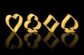 Golden poker elemanları, vektör çizim — Stok Vektör