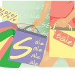 Summer sale banner Woman shopping vector illustration — Stock Vector #9720504
