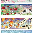 Stock Vector: Symphony of four season banners, vector illustration