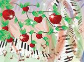 Tarjeta de verano melodía, ilustración vectorial — Vector de stock