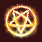 Satanic fire pentagram , vector illustration — Stock Vector