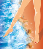 Girl foots on the beach. vector illustration — Stock Vector