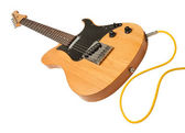 Yellow electric guitar with a cable plugged — Stock Photo