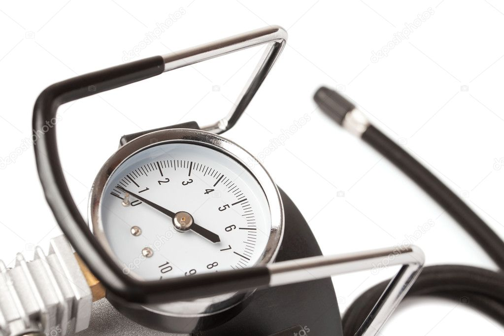 Car compressor gauge against white — Stock Photo #8676673