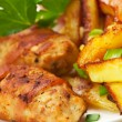 Fried cutlets and potato — Stock Photo