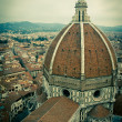 Top view of Duomo cathedral in Florence, Italy - Stock Photo